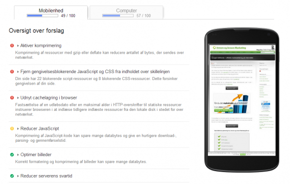 Google PageSpeed - analyse af mobilsite